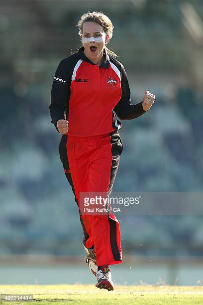 Alex Price of South Australia celebrates after dismissing Nicole Bolton of Western Australia during the round one WNCL match between Western...