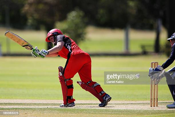 Alex Price of the Scorpions bats during the WNCL match between South Australia and Victoria at Park 25 on October 20 2013 in Adelaide Australia