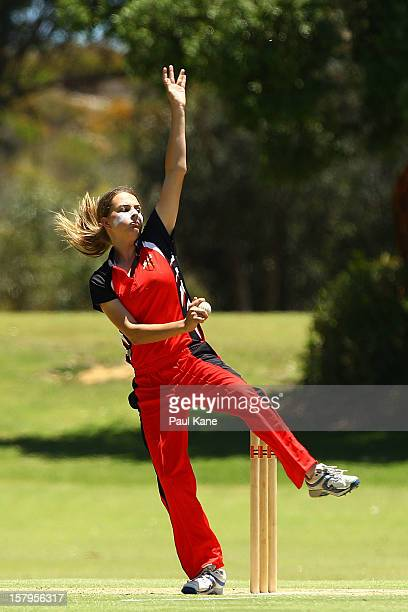 Alex Price of the Scorpions bowls during the WNCL match between the Western Australia Fury and the South Australia Scorpions at Christ Church Grammar...