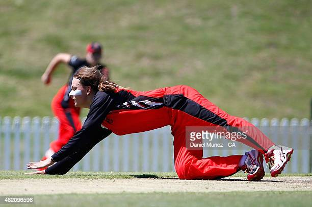 Alex Price of the Scorpions dives for a ball during the WNCL Final match between South Australia and New South Wales at Blacktown International...