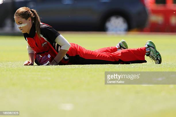 Alex Price of the Scorpions misses a catch during the WNCL match between South Australia and Victoria at Park 25 on October 20 2013 in Adelaide...