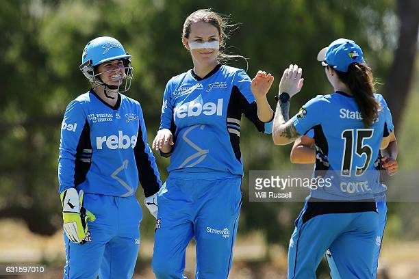 Alex Price of the Strikers celebrates the wicket of Jess Cameron of the Stars during the Women's Big Bash League match between the Adelaide Strikers...