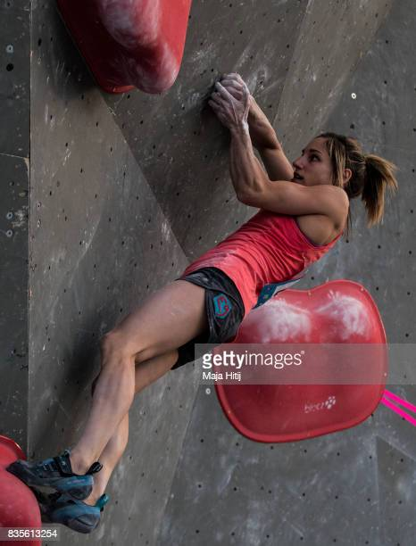 Alex Puccio of USA competes during final at the IFSC Climbing World Cup Munich on August 19 2017 in Munich Germany