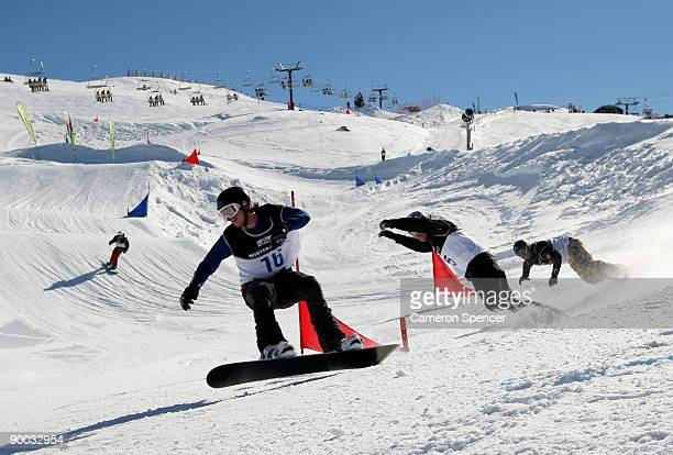 Alex Pullin of Australia competes in the men's Snowboard Cross during day three of the Winter Games NZ at Cardrona Alpine Resort on August 24 2009 in...