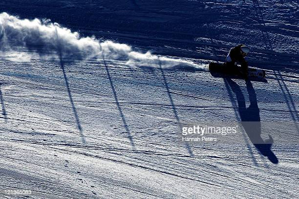 Alex Pullin of Australia competes in the Snowboard Cross Qualification during day seven of the Winter Games NZ at Cardrona Alpine Resort on August 19...