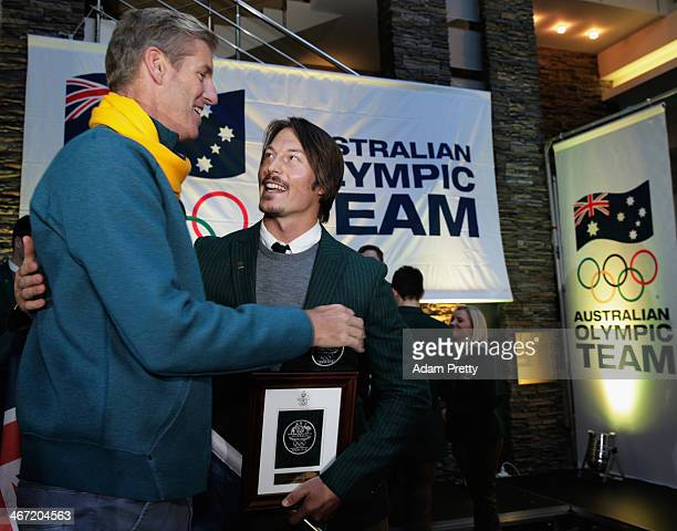 Alex Pullin of Australia is congratulated by James Tomkins after he was announced as the Flag Bearer for Australia at the Sochi Olympics Opening...