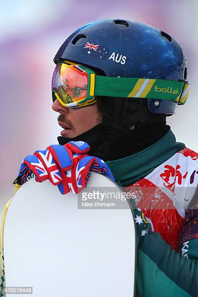 Alex Pullin of Australia looks on after the Men's Snowboard Cross Quarterfinals on day eleven of the 2014 Winter Olympics at Rosa Khutor Extreme Park...