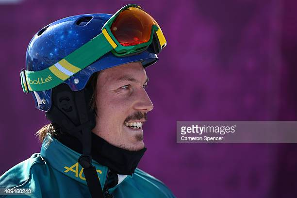 Alex Pullin of Australia looks on during a Men's Snowboard Cross practice during day eight of the Sochi 2014 Winter Olympics at Rosa Khutor Extreme...