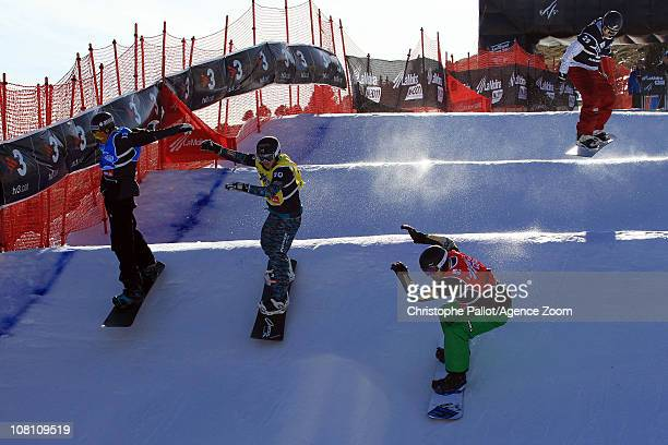 Alex Pullin of Australia takes 1st place during the FIS Snowboard World Championships Men's and Women's Snowboardcross on January 18 2011 in La...