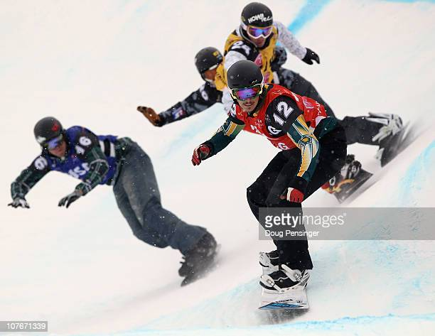 Alex Pullin of Australia takes the lead in his semifinal as he went on to finish third in the Men's Snowboard Cross at the LG Snowboard FIS World Cup...