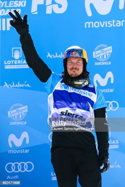 Alex Pullin of Australia wins the bronze medal during the FIS Freestyle Ski Snowboard World Championships Snowboardcross on March 12 2017 in Sierra...