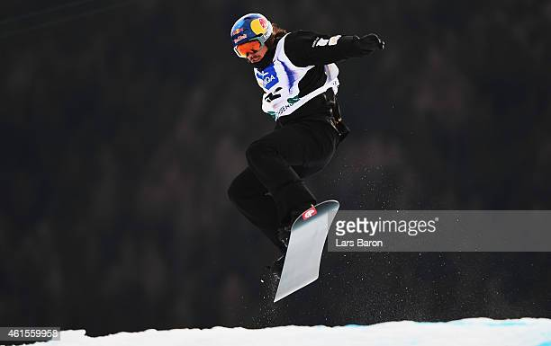 Alex Pullin of Austria competes during Men's Snowboard Cross qualifying ahead of the FIS Freestyle Ski and Snowboard World Championships on January...