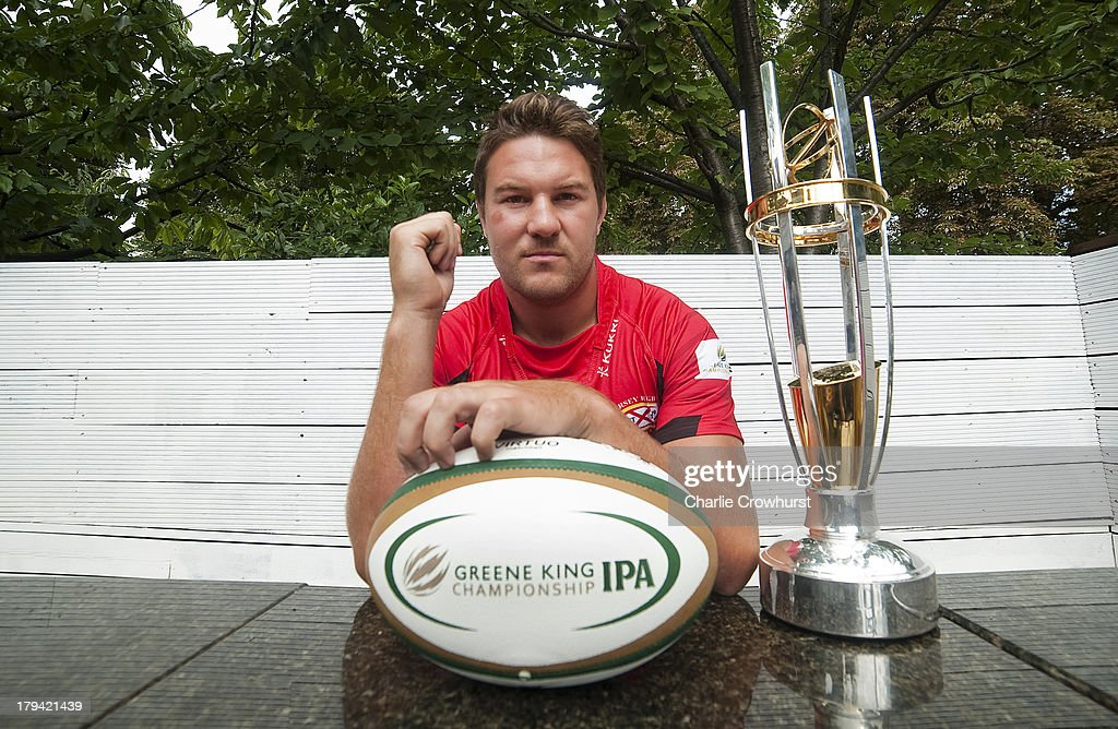 <a gi-track='captionPersonalityLinkClicked' href=/galleries/search?phrase=Alex+Rae&family=editorial&specificpeople=764150 ng-click='$event.stopPropagation()'>Alex Rae</a> of Jersey RFC during the 2013/14 Greene King IPA Championship Launch at St Margarets Pub on September 03, 2013 in London, England.