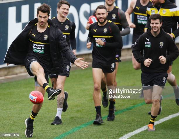 Alex Rance kicks the ball during a Richmond Tigers AFL training session at Punt Road Oval on September 12 2017 in Melbourne Australia