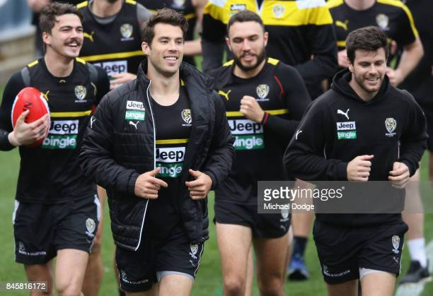 Alex Rance looks on during a Richmond Tigers AFL training session at Punt Road Oval on September 12 2017 in Melbourne Australia