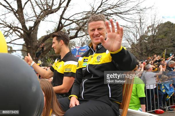 Alex Rance of the Tigers and Damien Hardwick coach of the Tigers wave to the crowd during the 2017 AFL Grand Final Parade on September 29 2017 in...