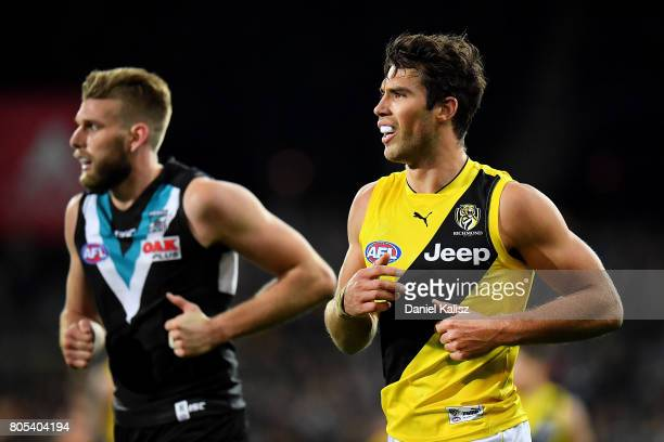 Alex Rance of the Tigers and Jackson Trengove of the Power look on during the round 15 AFL match between the Port Adelaide Power and the Richmond...