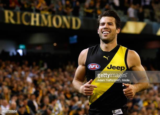 Alex Rance of the Tigers celebrates during the 2017 AFL Second Preliminary Final match between the Richmond Tigers and the GWS Giants at the...