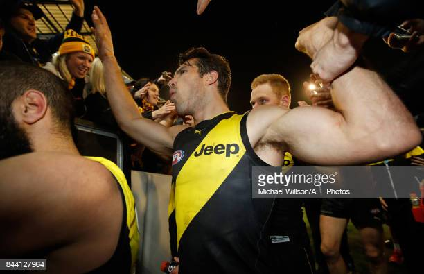 Alex Rance of the Tigers celebrates during the AFL Second Qualifying Final Match between the Geelong Cats and the Richmond Tigers at Melbourne...