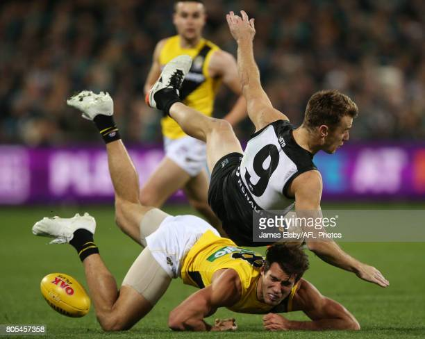 Alex Rance of the Tigers clashes with Robbie Gray of the Power during the 2017 AFL round 15 match between the Port Adelaide Power and the Richmond...