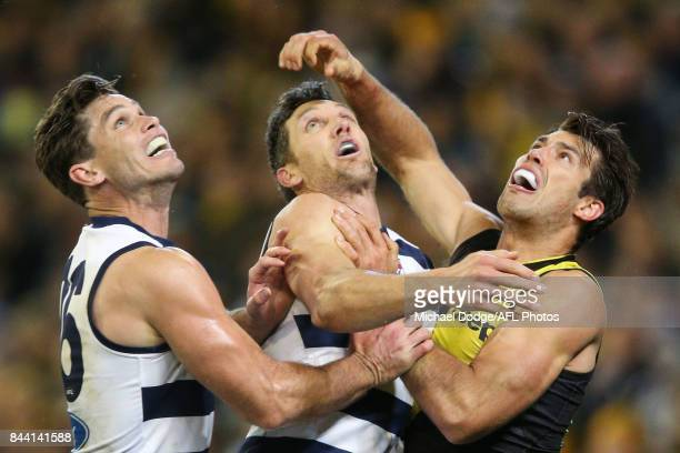 Alex Rance of the Tigers compete for the ball against Tom Hawkins and Harry Taylor of the Cats during the AFL Second Qualifying Final Match between...