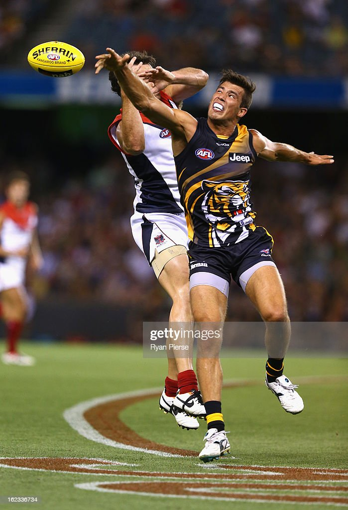 Alex Rance of the Tigers competes for the ball during the round one AFL NAB Cup match between the Richmond Tigers and the Melbourne Demons at Etihad Stadium on February 22, 2013 in Melbourne, Australia.
