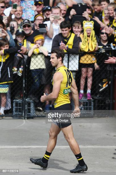 Alex Rance of the Tigers enters the field during a Richmond Tigers AFL training session at Punt Road Oval on September 22 2017 in Melbourne Australia