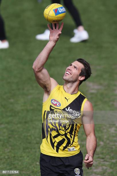 Alex Rance of the Tigers gathers the ball during a Richmond Tigers AFL training session at Punt Road Oval on September 22 2017 in Melbourne Australia