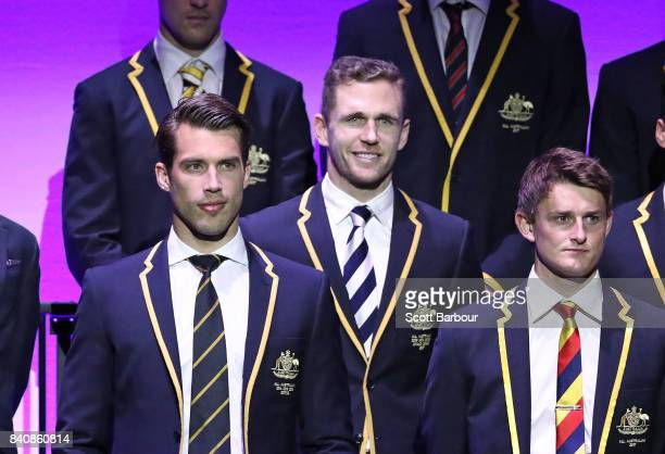 Alex Rance of the Tigers Joel Selwood of the Cats and the AFL All Australian team pose on stage during the AFL All Australian team announcement at...
