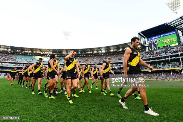 Alex Rance of the Tigers leads the team off the field after the loss during the 2017 AFL round 13 match between the Richmond Tigers and the Sydney...