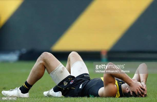 Alex Rance of the Tigers looks dejected after a loss during the 2017 AFL round 13 match between the Richmond Tigers and the Sydney Swans at the...