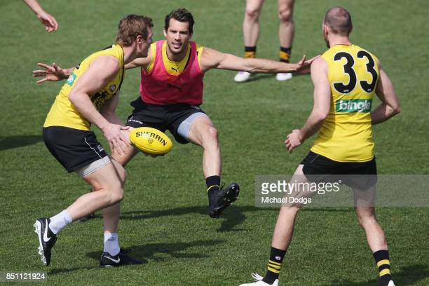 Alex Rance of the Tigers piles on pressure during a Richmond Tigers AFL training session at Punt Road Oval on September 22 2017 in Melbourne Australia