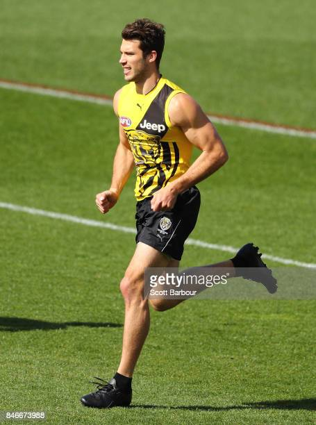 Alex Rance of the Tigers runs during a Richmond Tigers AFL training session at Punt Road Oval on September 14 2017 in Melbourne Australia