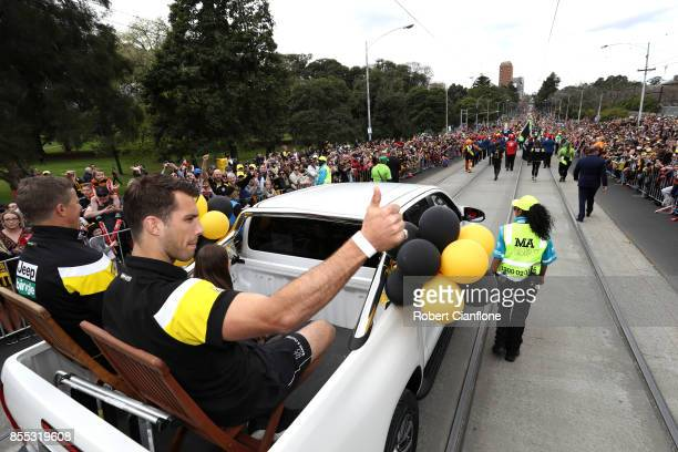 Alex Rance of the Tigers salutes fans during the 2017 AFL Grand Final Parade ahead of the Grand Final between the Adelaide Crows and the Richmond...