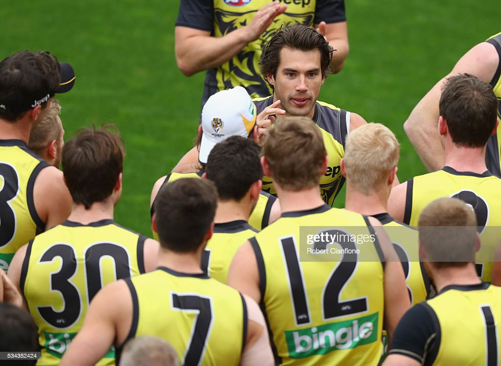 Alex Rance of the Tigers speaks to his team mates during a Richmond Tigers AFL training session at ME Bank Centre on May 26, 2016 in Melbourne, Australia.