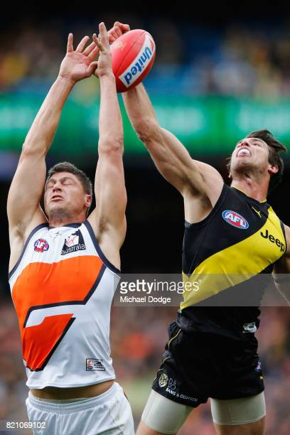 Alex Rance of the Tigers spoils Jonathon Patton of the Giants during the round 18 AFL match between the Richmond Tigers and the Greater Western...