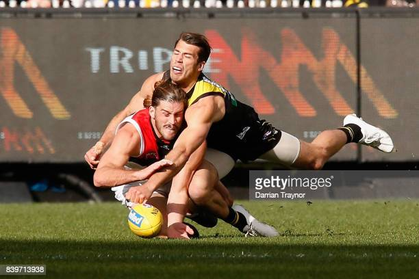 Alex Rance of the Tigers spoils Josh Bruce of the Saints during the round 23 AFL match between the Richmond Tigers and the St Kilda Saints at...