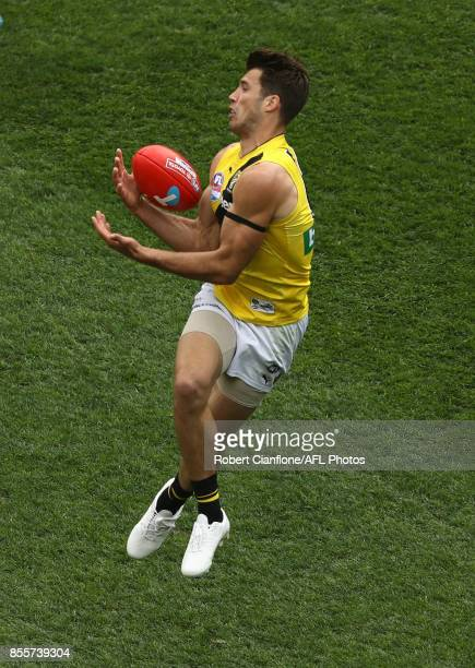 Alex Rance of the Tigers takes the ball during the 2017 AFL Grand Final match between the Adelaide Crows and the Richmond Tigers at Melbourne Cricket...