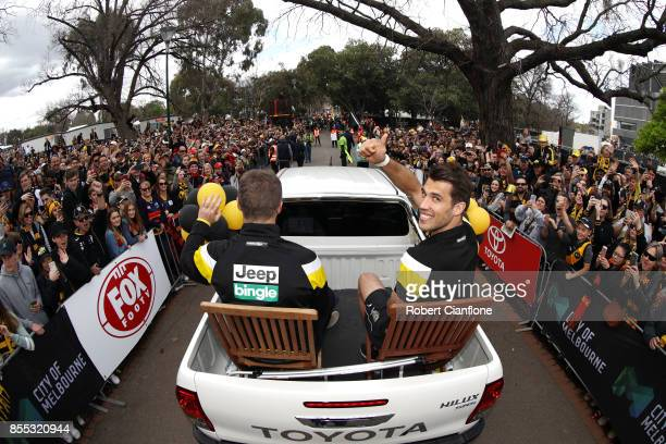 Alex Rance of the Tigers waves to fans during the 2017 AFL Grand Final Parade ahead of the Grand Final between the Adelaide Crows and the Richmond...