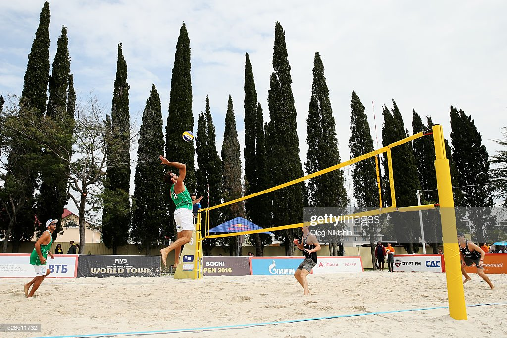 Alex Ranghieri of Italy and Alexei Strasser of Switzerland duel at the net during day 3 of FIVB Sochi Open presented by VTB on May 5, 2016 in Sochi, Russia.