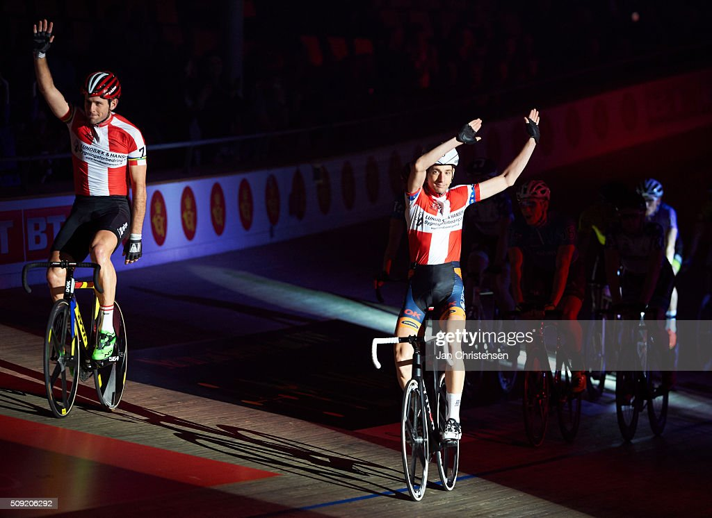 Alex Rasmussen and Jesper Morkov in action during Day six at the Copenhagen Six Days Cycling Race at Ballerup Super Arena on February 09, 2016 in Ballerup, Denmark.
