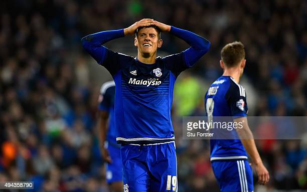 Alex Revell of Cardiff reacts after a near miss during the Sky Bet Championship match between Cardiff City and Bristol City at Cardiff City Stadium...