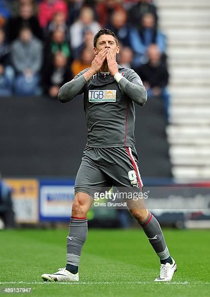 Alex Revell of Rotherham United celebrates scoring the opening goal during the Sky Bet League One Play Off Semi Final first leg match between Preston...