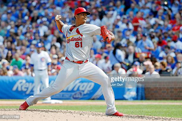 Alex Reyes of the St Louis Cardinals against the Chicago Cubs during the fifth inning at Wrigley Field on September 24 2016 in Chicago Illinois