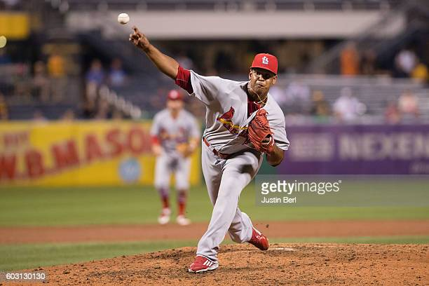 Alex Reyes of the St Louis Cardinals delivers a pitch during the game against the Pittsburgh Pirates at PNC Park on September 7 2016 in Pittsburgh...