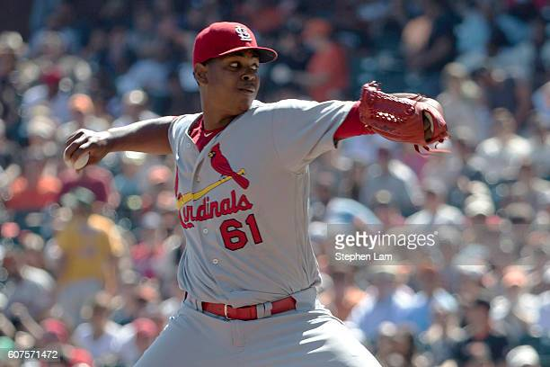 Alex Reyes of the St Louis Cardinals delivers the pitch during the first inning against the San Francisco Giants at ATT Park on September 18 2016 in...