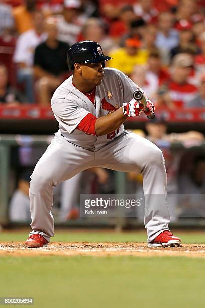 Alex Reyes of the St Louis Cardinals lays down a bunt during the game against the Cincinnati Reds at Great American Ball Park on September 2 2016 in...