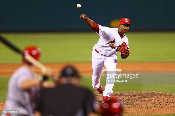 Alex Reyes of the St Louis Cardinals makes his MLB debut pitching against the Cincinnati Reds in the ninth inning at Busch Stadium on August 9 2016...