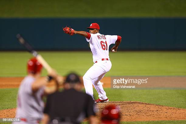 Alex Reyes of the St Louis Cardinals pitches against the Cincinnati Reds at Busch Stadium on August 9 2016 in St Louis Missouri