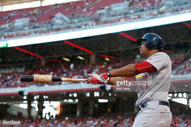 Alex Reyes of the St Louis Cardinals prepares for an at bat during the game against the Cincinnati Reds at Great American Ball Park on September 2...